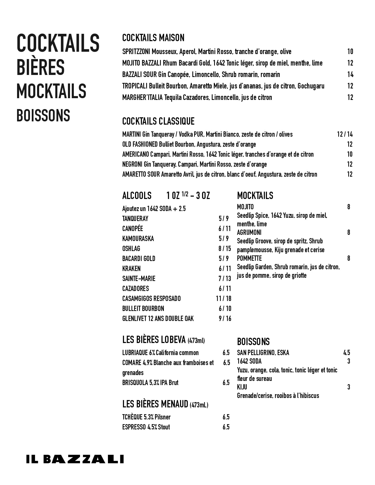 Menu Cocktails Il Bazzali - Page 1