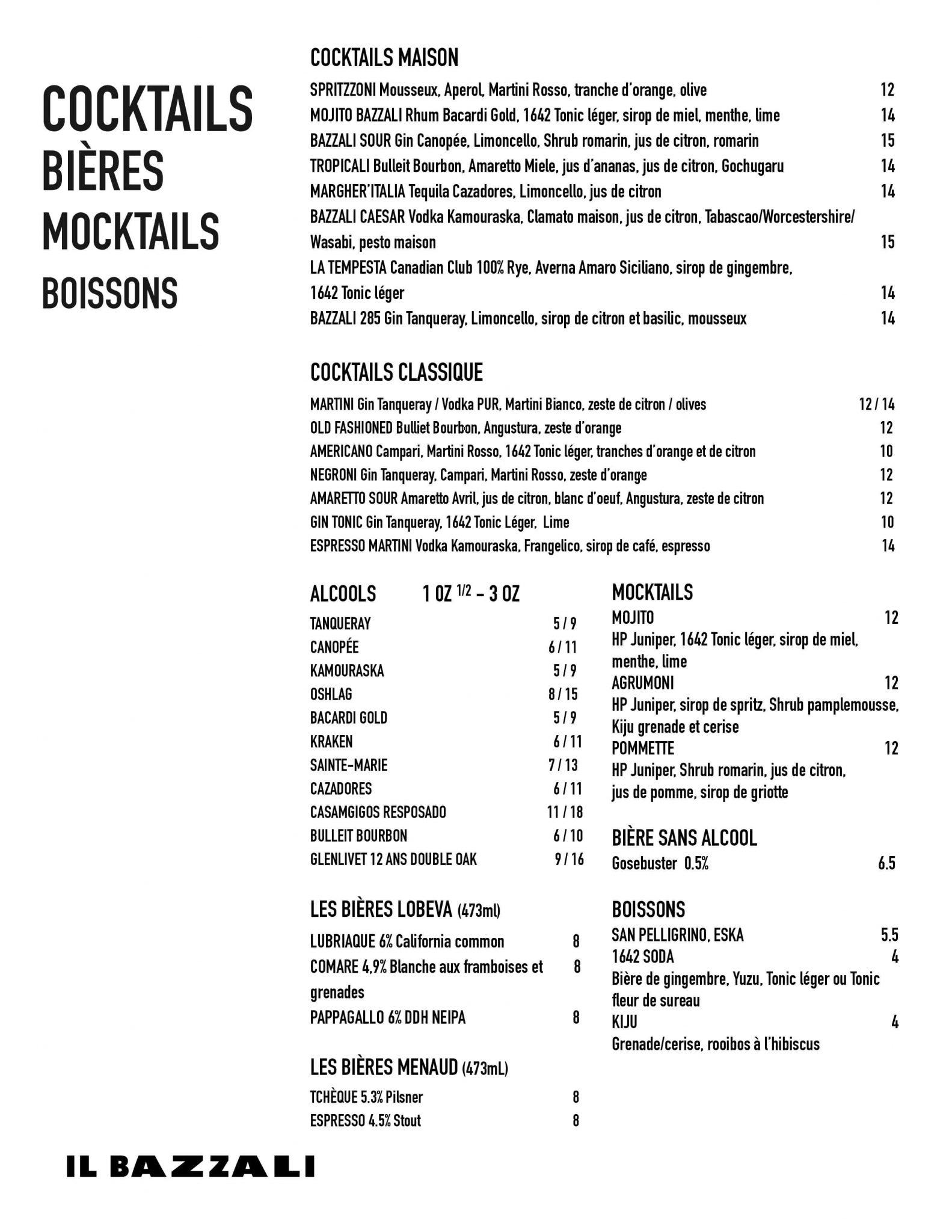 Menu Cocktails Il Bazzali - 2021-08-29